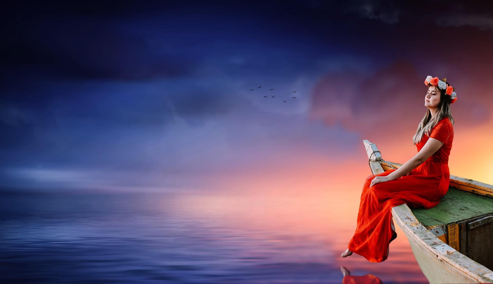 Момиче на лодка
